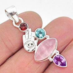 8.53cts natural pink rose quartz 925 silver hand of god hamsa pendant r96379