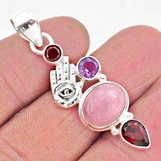 7.89cts natural pink rose quartz 925 silver hand of god hamsa pendant r96394