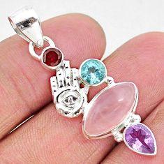 7.86cts natural pink rose quartz 925 silver hand of god hamsa pendant r96402