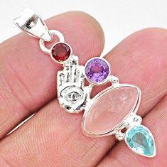 8.03cts natural pink rose quartz 925 silver hand of god hamsa pendant r96412