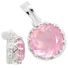 4.98cts natural pink rose quartz 925 sterling silver crown pendant t7845