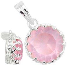3.82cts natural pink rose quartz 925 sterling silver crown pendant t7868