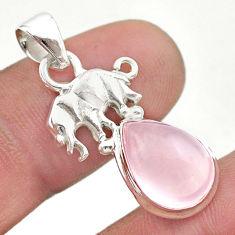 6.03cts natural pink rose quartz 925 sterling silver elephant pendant t45982