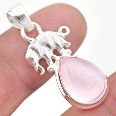 6.70cts natural pink rose quartz 925 sterling silver elephant pendant t45984