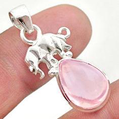 6.72cts natural pink rose quartz 925 sterling silver elephant pendant t45986