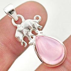 6.70cts natural pink rose quartz 925 sterling silver elephant pendant t45992