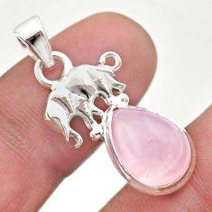 5.03cts natural pink rose quartz 925 sterling silver elephant pendant t45999