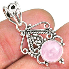 2.71cts natural pink rose quartz 925 sterling silver pendant jewelry r90181