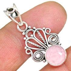 2.98cts natural pink rose quartz 925 sterling silver pendant jewelry r90182