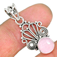 2.82cts natural pink rose quartz 925 sterling silver pendant jewelry r90183