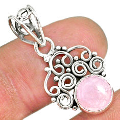 2.62cts natural pink rose quartz 925 sterling silver pendant jewelry r90184