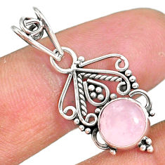 2.74cts natural pink rose quartz 925 sterling silver pendant jewelry r90185
