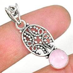 2.68cts natural pink rose quartz 925 sterling silver pendant jewelry r90188