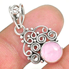 2.70cts natural pink rose quartz 925 sterling silver pendant jewelry r90189