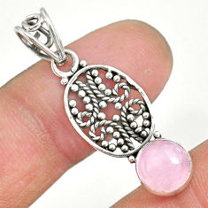 2.84cts natural pink rose quartz 925 sterling silver pendant jewelry r90190