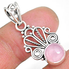 2.71cts natural pink rose quartz 925 sterling silver pendant jewelry r90201