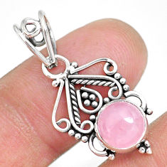 2.89cts natural pink rose quartz 925 sterling silver pendant jewelry r90203