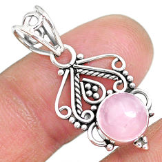 2.83cts natural pink rose quartz 925 sterling silver pendant jewelry r90204