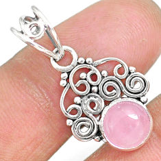2.84cts natural pink rose quartz 925 sterling silver pendant jewelry r90206