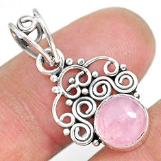 2.83cts natural pink rose quartz 925 sterling silver pendant jewelry r90209