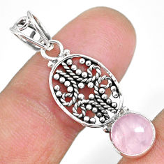 2.73cts natural pink rose quartz 925 sterling silver pendant jewelry r90210
