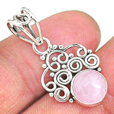 2.93cts natural pink rose quartz 925 sterling silver pendant jewelry r90241