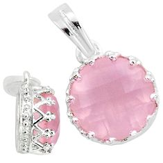 3.86cts natural pink rose quartz 925 silver handmade pendant jewelry t16729