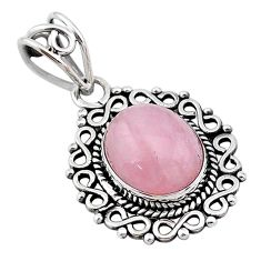 5.24cts natural pink rose quartz 925 sterling silver handmade pendant t1722
