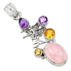 Clearance Sale- 10.88cts natural pink rose quartz amethyst 925 silver angel pendant d43537