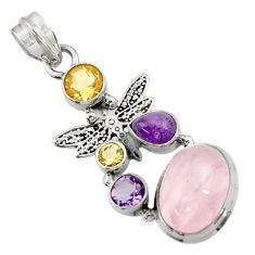 10.54cts natural pink rose quartz amethyst 925 silver dragonfly pendant d43539