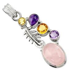 10.30cts natural pink rose quartz amethyst 925 silver feather pendant d43528