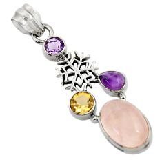 Clearance Sale- 10.04cts natural pink rose quartz amethyst 925 silver snowflake pendant d43525