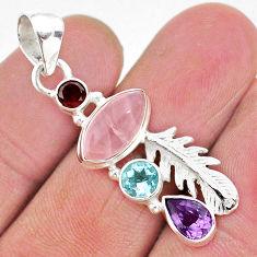 7.60cts natural pink rose quartz amethyst 925 sterling silver pendant r96382