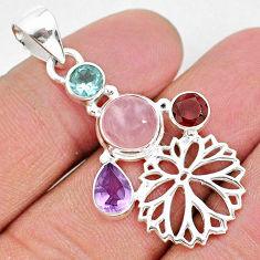 6.85cts natural pink rose quartz amethyst 925 sterling silver pendant r96419
