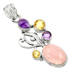 Clearance Sale- 10.33cts natural pink rose quartz amethyst citrine 925 silver pendant d43533