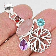 6.84cts natural pink rose quartz amethyst topaz 925 silver flower pendant r96401