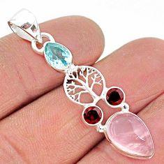 6.45cts natural pink rose quartz garnet 925 silver tree of life pendant r96378