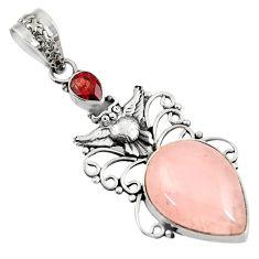 13.28cts natural pink rose quartz garnet 925 sterling silver owl pendant d39416
