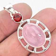 11.54cts natural pink rose quartz garnet 925 sterling silver pendant r96258