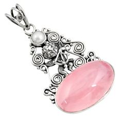 Clearance Sale- 22.73cts natural pink rose quartz pearl 925 sterling silver angel pendant d39415