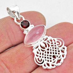 7.04cts natural pink rose quartz red garnet 925 sterling silver pendant r96400