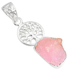 8.94cts natural pink rose quartz rough 925 silver tree of life pendant r81008