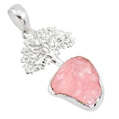 7.50cts natural pink rose quartz rough 925 silver tree of life pendant r81017