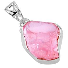 13.15cts natural pink rose quartz rough fancy 925 sterling silver pendant r56567