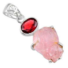 16.85cts natural pink rose quartz rough fancy garnet 925 silver pendant r57005