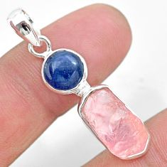 7.63cts natural pink rose quartz raw fancy kyanite 925 silver pendant t25471