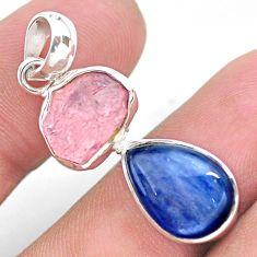 9.59cts natural pink rose quartz raw fancy kyanite 925 silver pendant t25477