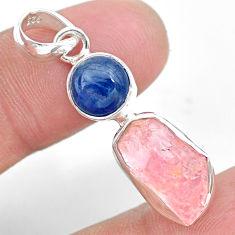 8.24cts natural pink rose quartz raw fancy kyanite 925 silver pendant t25478