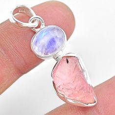 9.96cts natural pink rose quartz raw fancy moonstone 925 silver pendant t25509