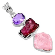 19.65cts natural pink rose quartz rough garnet rough 925 silver pendant r56696